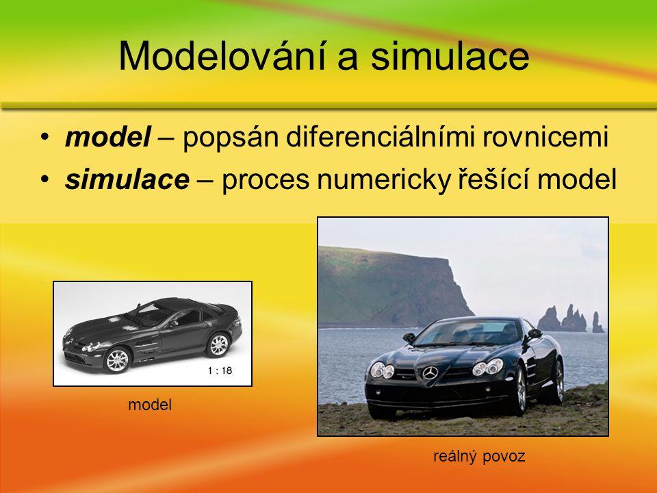 model – popsán diferenciálními rovnicemi simulace – proces numericky řešící model Modelování a simulace model reálný povoz