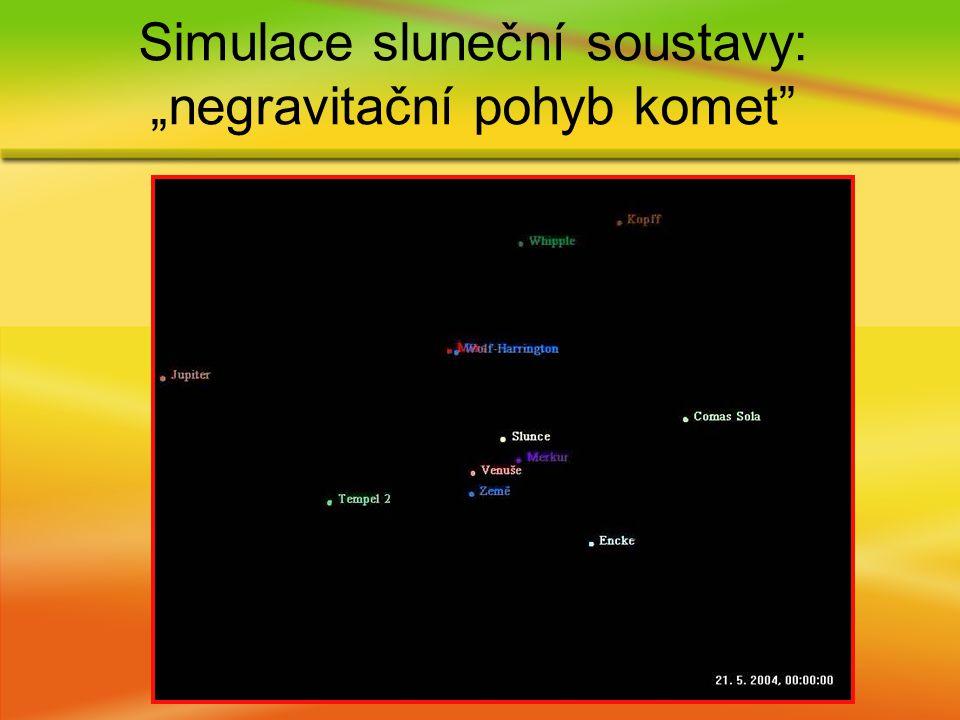 """Simulace sluneční soustavy: """"negravitační pohyb komet"""