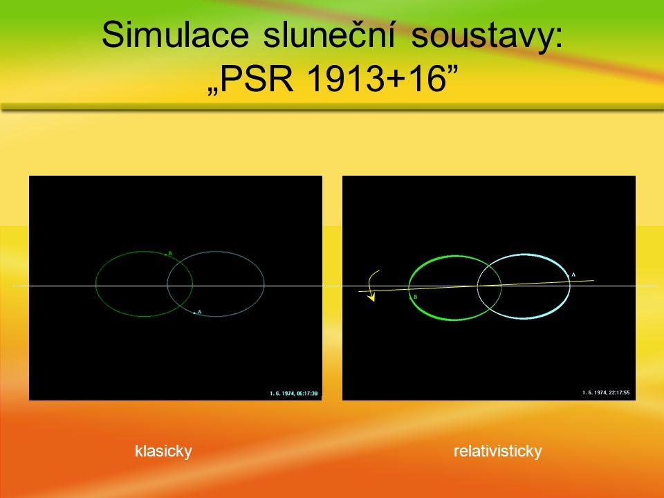 """klasickyrelativisticky Simulace sluneční soustavy: """"PSR 1913+16"""