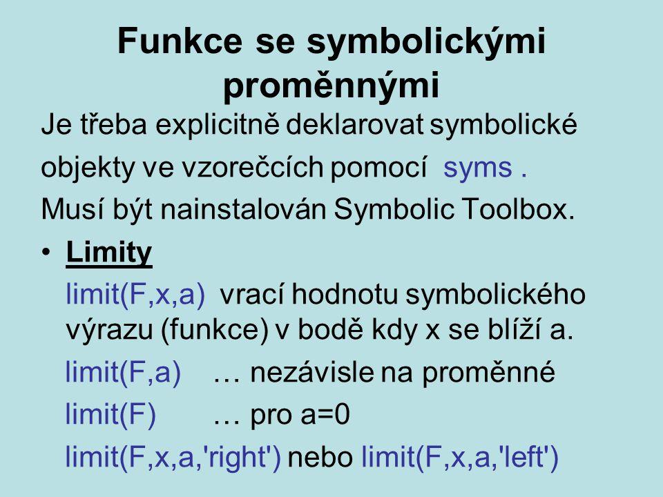 Funkce se symbolickými proměnnými Je třeba explicitně deklarovat symbolické objekty ve vzorečcích pomocí syms.