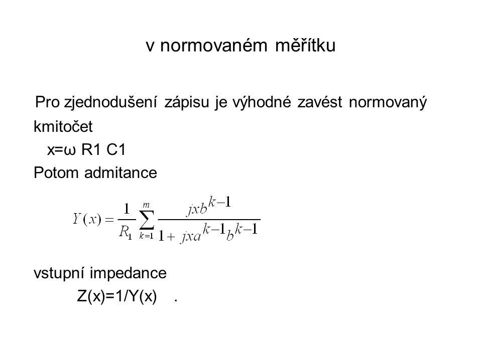 v normovaném měřítku Pro zjednodušení zápisu je výhodné zavést normovaný kmitočet x=ω R1 C1 Potom admitance vstupní impedance Z(x)=1/Y(x).