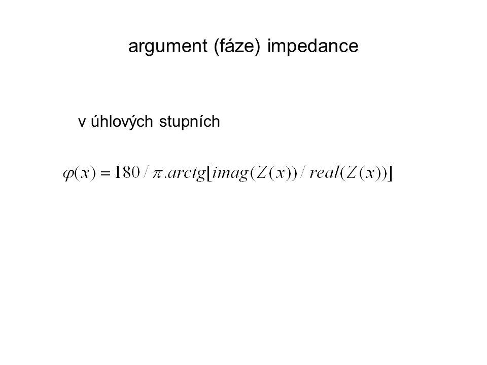 argument (fáze) impedance v úhlových stupních