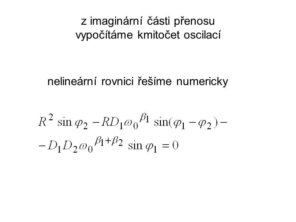 z imaginární části přenosu vypočítáme kmitočet oscilací nelineární rovnici řešíme numericky
