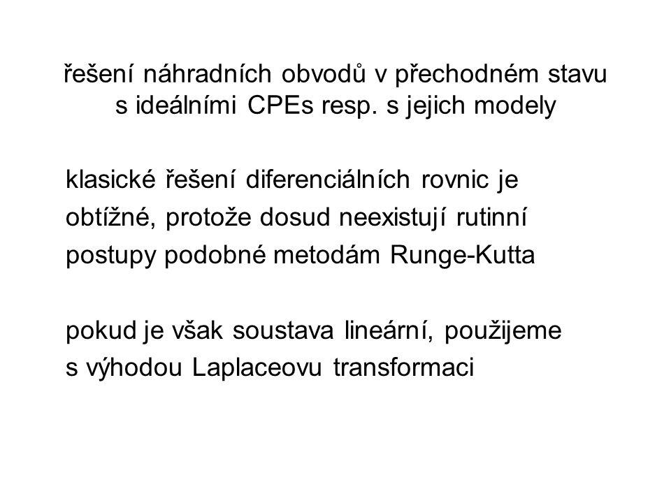 řešení náhradních obvodů v přechodném stavu s ideálními CPEs resp.