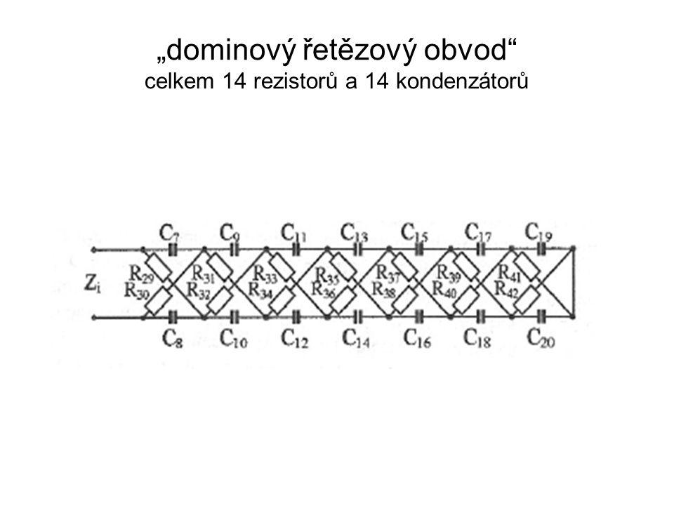 """""""dominový řetězový obvod celkem 14 rezistorů a 14 kondenzátorů"""