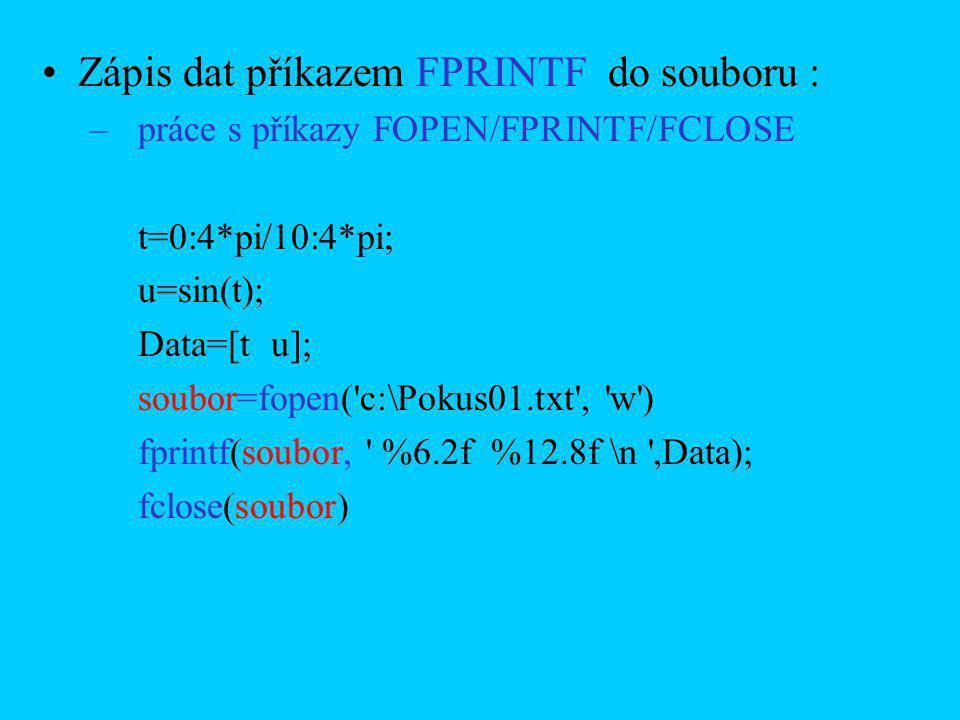 Zápis dat příkazem FPRINTF do souboru : –práce s příkazy FOPEN/FPRINTF/FCLOSE t=0:4*pi/10:4*pi; u=sin(t); Data=[t u]; soubor=fopen('c:\Pokus01.txt', '