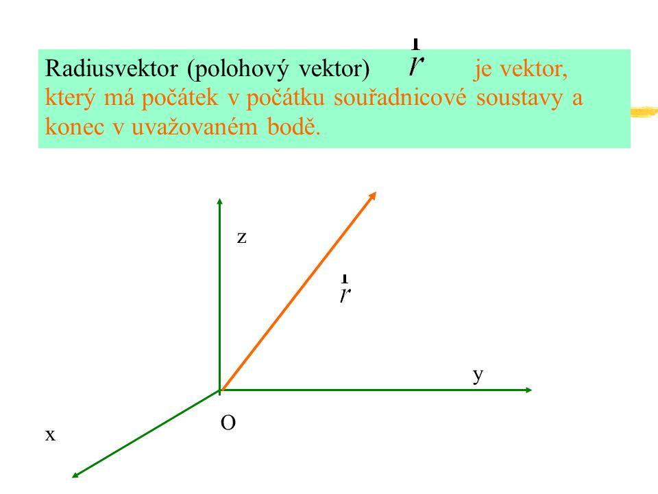 Radiusvektor (polohový vektor) je vektor, který má počátek v počátku souřadnicové soustavy a konec v uvažovaném bodě.