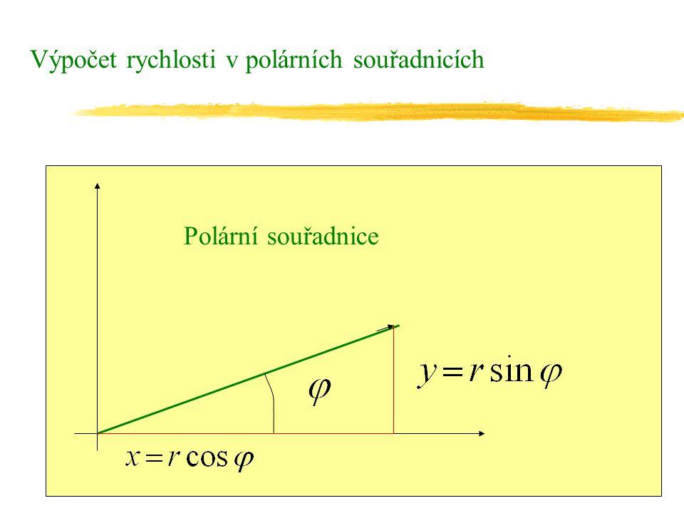 Výpočet rychlosti v polárních souřadnicích Polární souřadnice