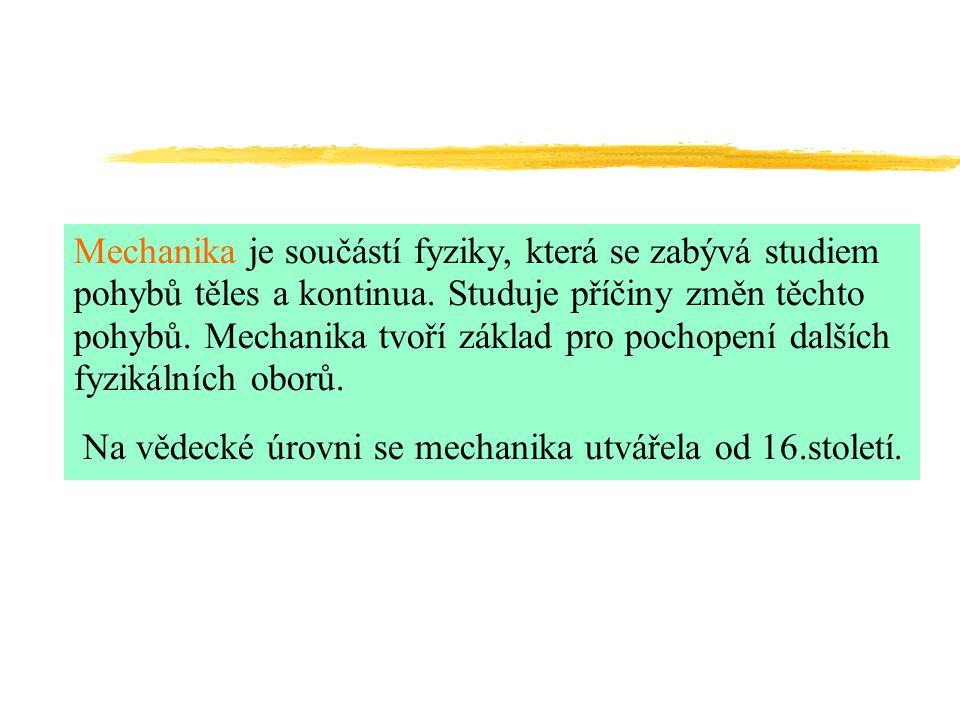 Mechanika je součástí fyziky, která se zabývá studiem pohybů těles a kontinua.