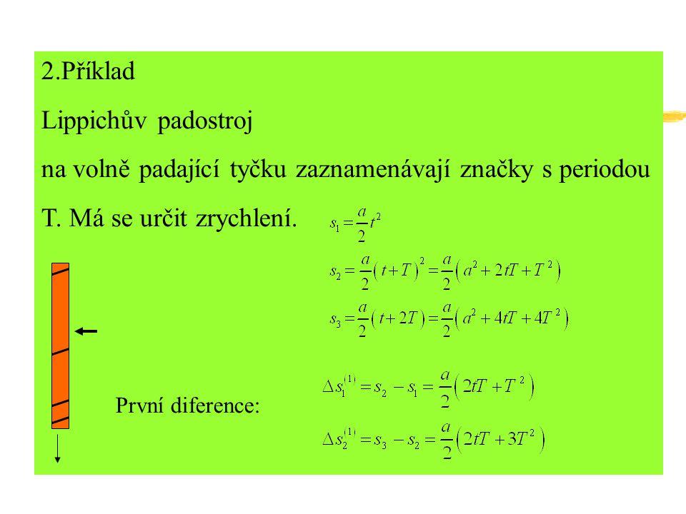 2.Příklad Lippichův padostroj na volně padající tyčku zaznamenávají značky s periodou T.