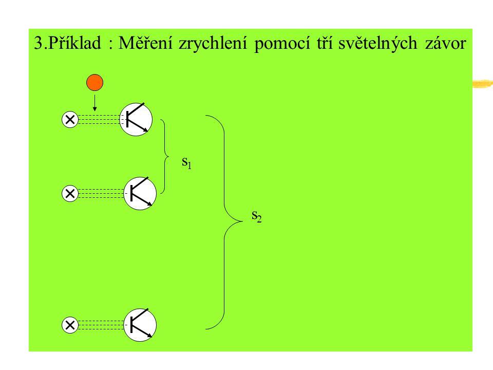 3.Příklad : Měření zrychlení pomocí tří světelných závor s1s1 s2s2