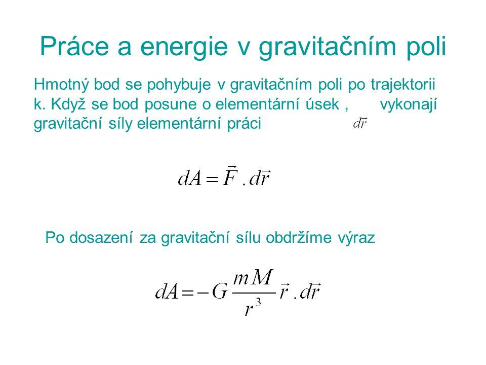 Práce a energie v gravitačním poli Hmotný bod se pohybuje v gravitačním poli po trajektorii k. Když se bod posune o elementární úsek, vykonají gravita
