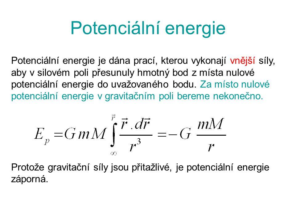 Potenciální energie Potenciální energie je dána prací, kterou vykonají vnější síly, aby v silovém poli přesunuly hmotný bod z místa nulové potenciální