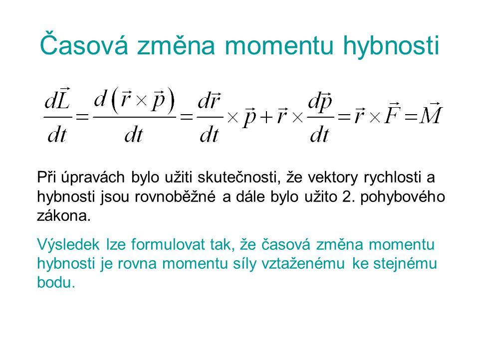 Časová změna momentu hybnosti Při úpravách bylo užiti skutečnosti, že vektory rychlosti a hybnosti jsou rovnoběžné a dále bylo užito 2. pohybového zák