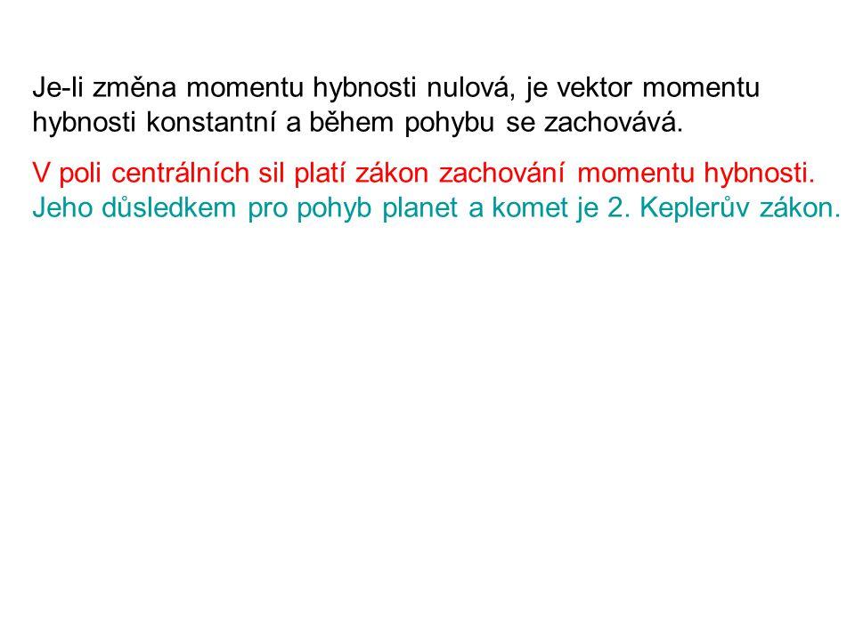 Je-li změna momentu hybnosti nulová, je vektor momentu hybnosti konstantní a během pohybu se zachovává. V poli centrálních sil platí zákon zachování m