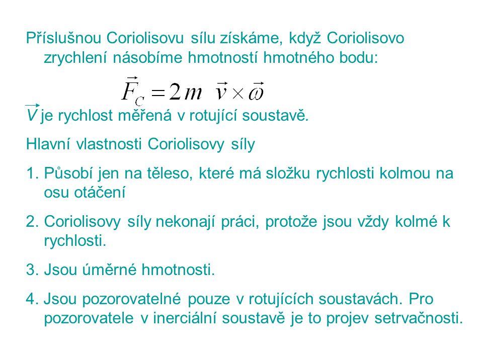 Příslušnou Coriolisovu sílu získáme, když Coriolisovo zrychlení násobíme hmotností hmotného bodu: V je rychlost měřená v rotující soustavě. Hlavní vla