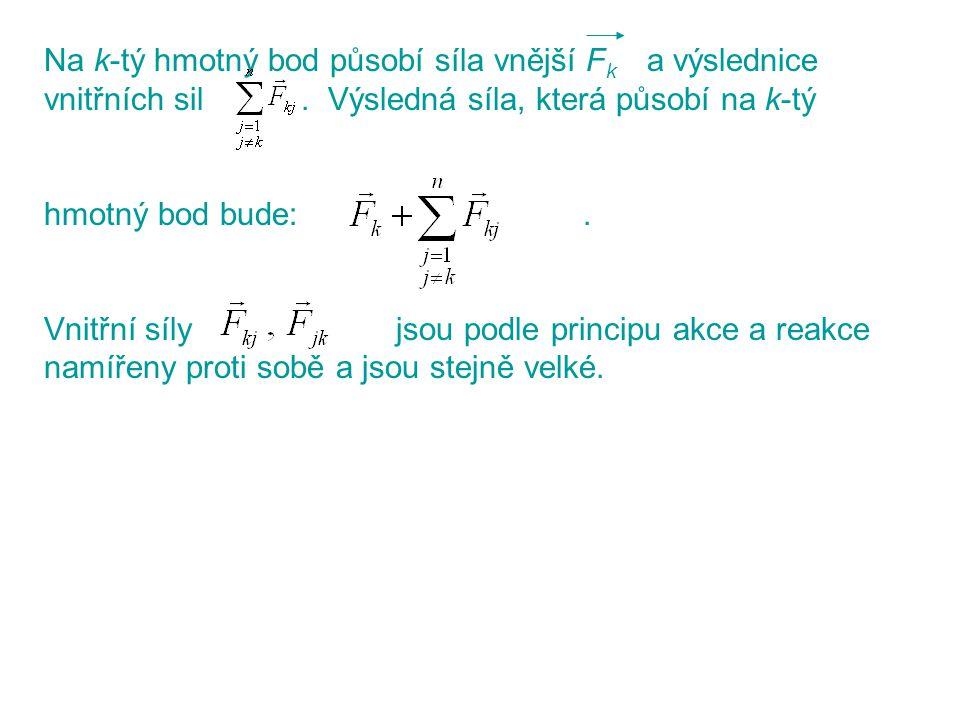 Na k-tý hmotný bod působí síla vnější F k a výslednice vnitřních sil. Výsledná síla, která působí na k-tý hmotný bod bude:. Vnitřní síly jsou podle pr