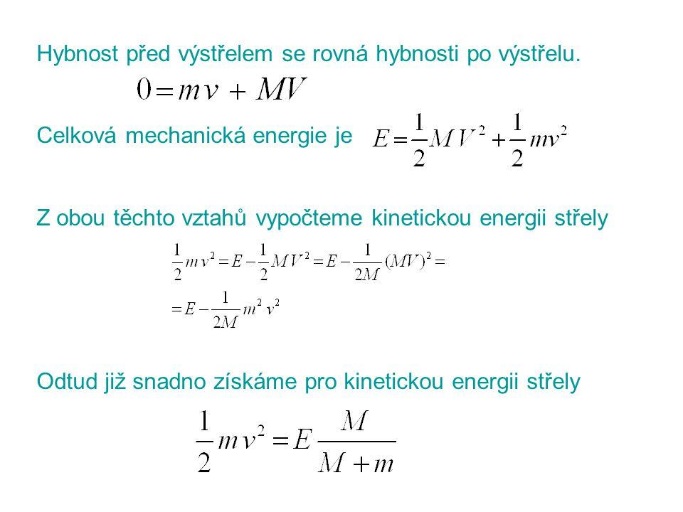 Hybnost před výstřelem se rovná hybnosti po výstřelu. Celková mechanická energie je Z obou těchto vztahů vypočteme kinetickou energii střely Odtud již