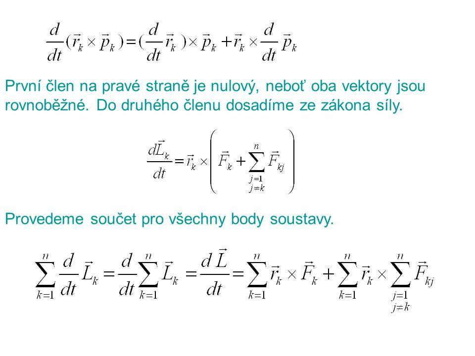 První člen na pravé straně je nulový, neboť oba vektory jsou rovnoběžné. Do druhého členu dosadíme ze zákona síly. Provedeme součet pro všechny body s