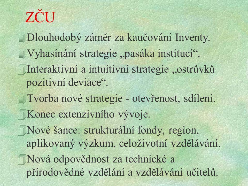 """ZČU 4Dlouhodobý záměr za kaučování Inventy. 4Vyhasínání strategie """"pasáka institucí ."""
