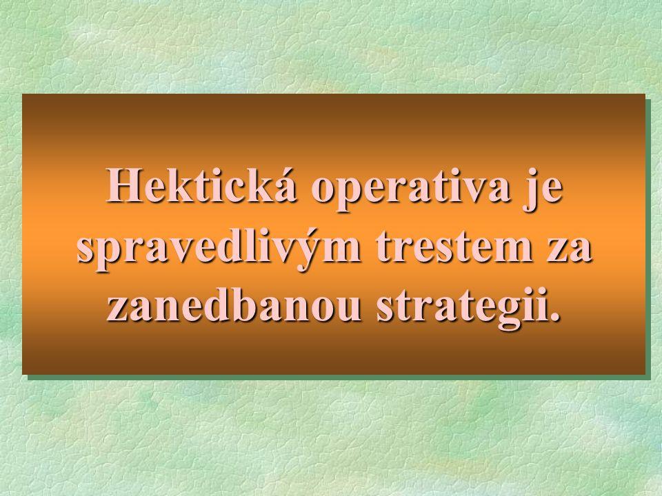 Hektická operativa je spravedlivým trestem za zanedbanou strategii.
