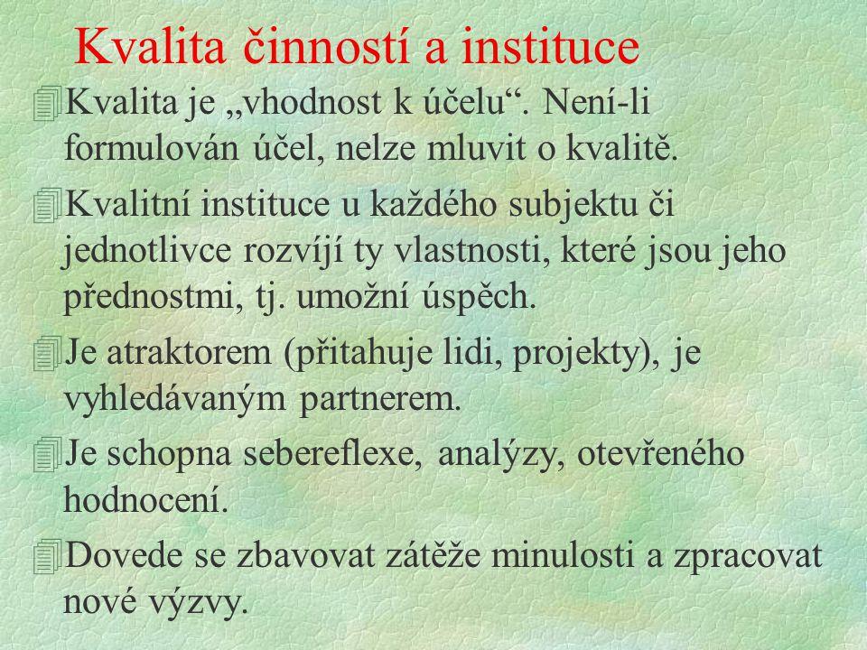 "Kvalita činností a instituce 4Kvalita je ""vhodnost k účelu ."