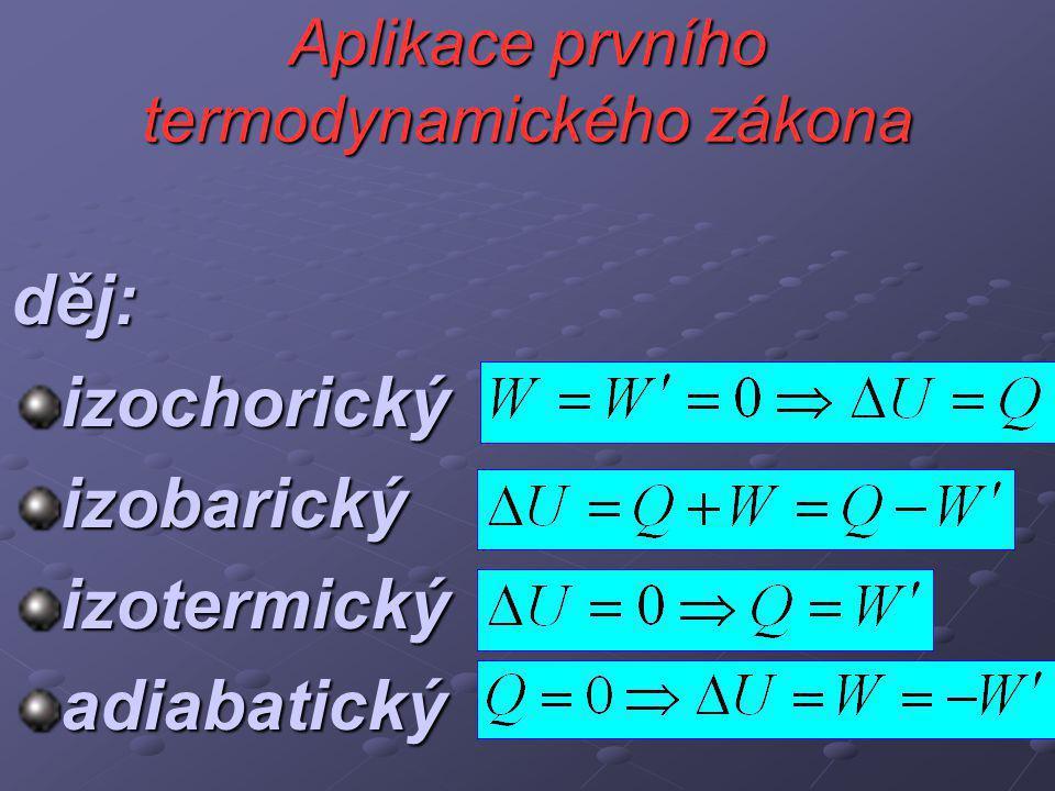 Aplikace prvního termodynamického zákona děj:izochorickýizobarickýizotermickýadiabatický