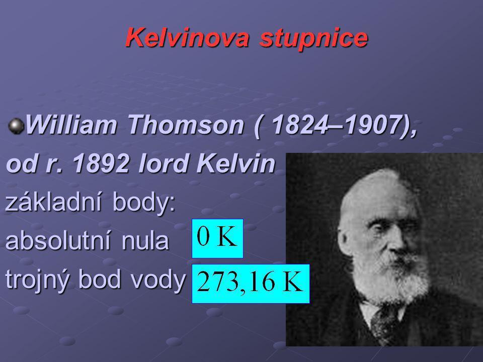 Kelvinova stupnice William Thomson ( 1824–1907), od r.