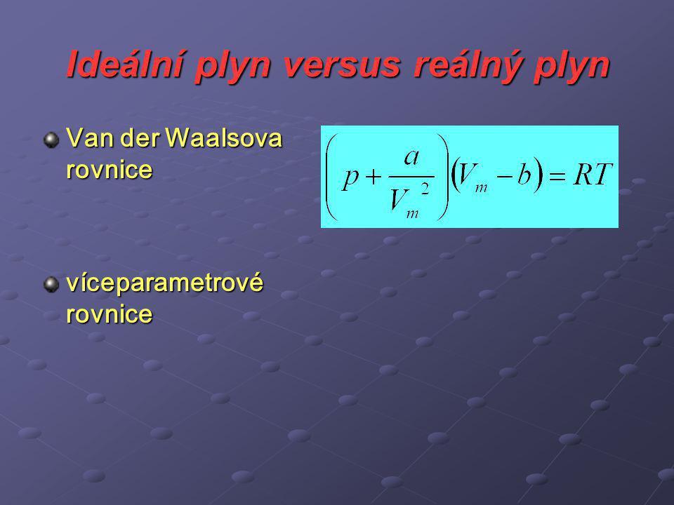 Ideální plyn versus reálný plyn Van der Waalsova rovnice víceparametrové rovnice