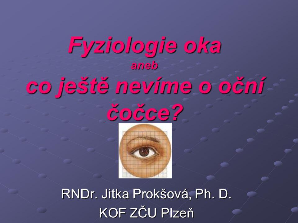 Obsah Gullstrandův model oka Stavba oka, Purkyňův jev, Mariottův pokus Oko v číslech Akomodace oka Absorpční schopnost různých částí oka Transmisní vlastnosti oka podle věku UV, IR: možnosti poškození částí oka Kontrast a rozlišovací schopnost Doznívání zrakového vjemu Vady oka Co ještě nevíme o oční čočce.