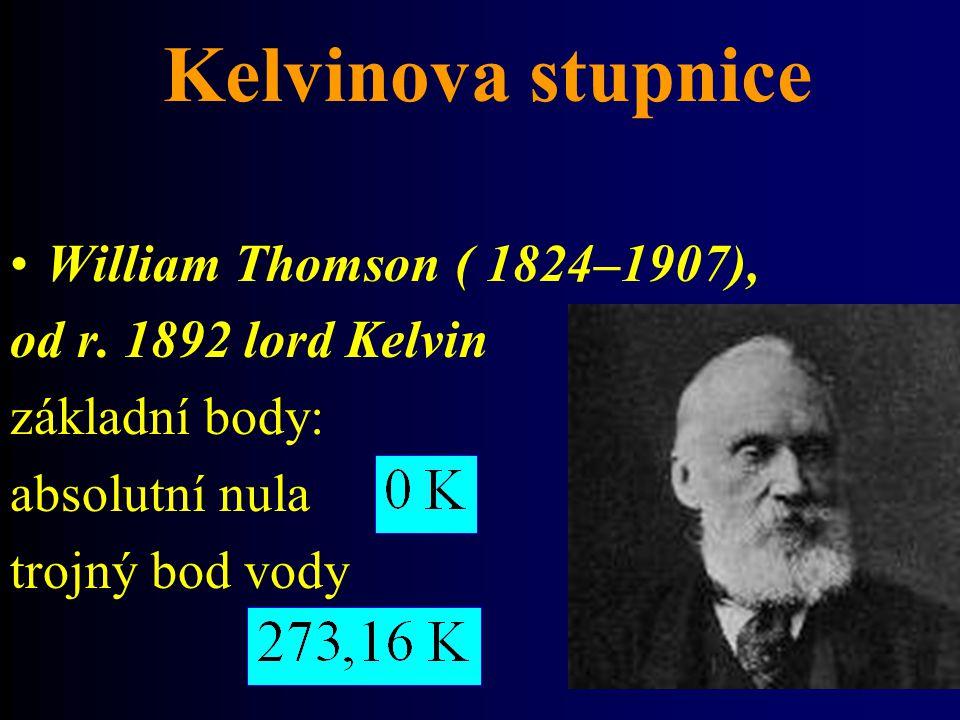 Kelvinova stupnice William Thomson ( 1824–1907), od r. 1892 lord Kelvin základní body: absolutní nula trojný bod vody