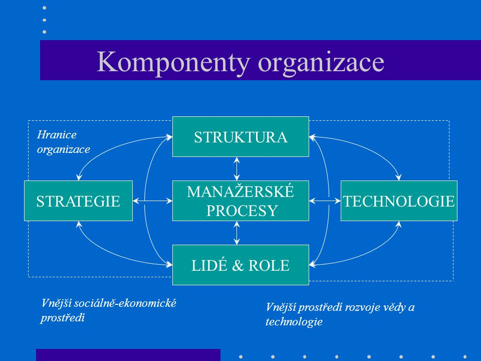 Komponenty organizace MANAŽERSKÉ PROCESY STRATEGIETECHNOLOGIE LIDÉ & ROLE STRUKTURA Hranice organizace Vnější sociálně-ekonomické prostředí Vnější pro
