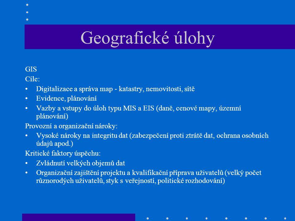 Geografické úlohy GIS Cíle: Digitalizace a správa map - katastry, nemovitosti, sítě Evidence, plánování Vazby a vstupy do úloh typu MIS a EIS (daně, c