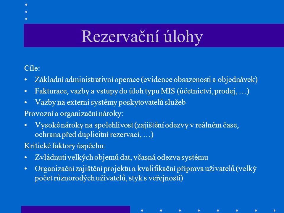 Rezervační úlohy Cíle: Základní administrativní operace (evidence obsazenosti a objednávek) Fakturace, vazby a vstupy do úloh typu MIS (účetnictví, pr
