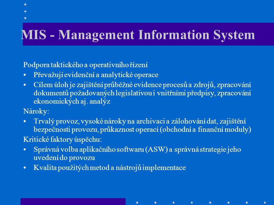 MIS - Management Information System Podpora taktického a operativního řízení Převažují evidenční a analytické operace Cílem úloh je zajištění průběžné
