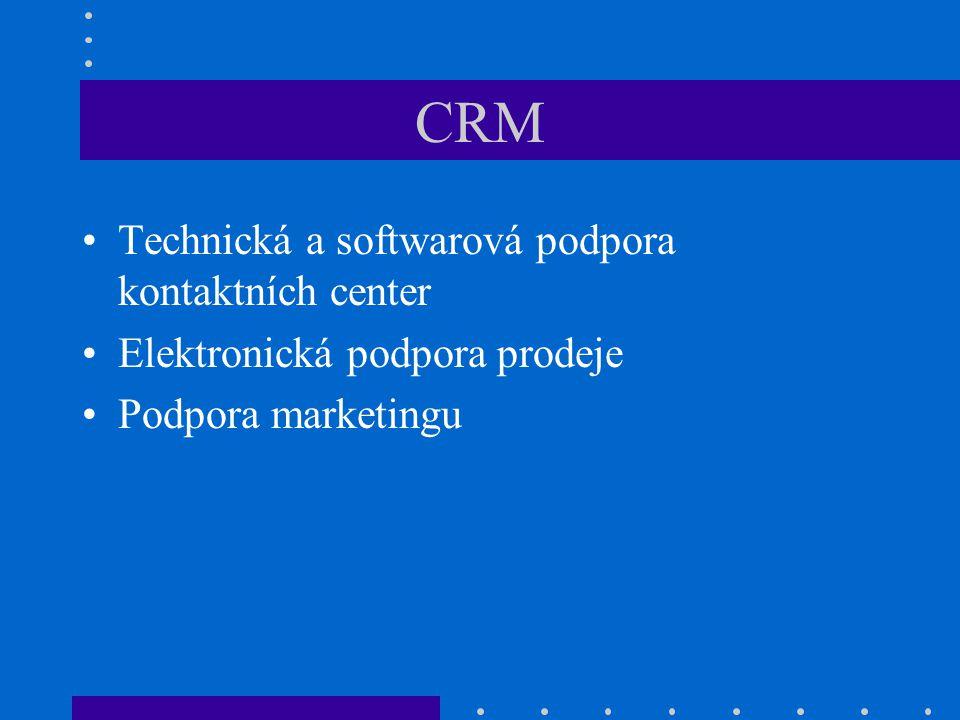 CRM Technická a softwarová podpora kontaktních center Elektronická podpora prodeje Podpora marketingu