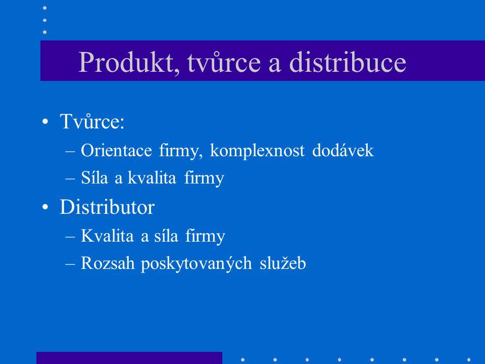 Produkt, tvůrce a distribuce Tvůrce: –Orientace firmy, komplexnost dodávek –Síla a kvalita firmy Distributor –Kvalita a síla firmy –Rozsah poskytovaný