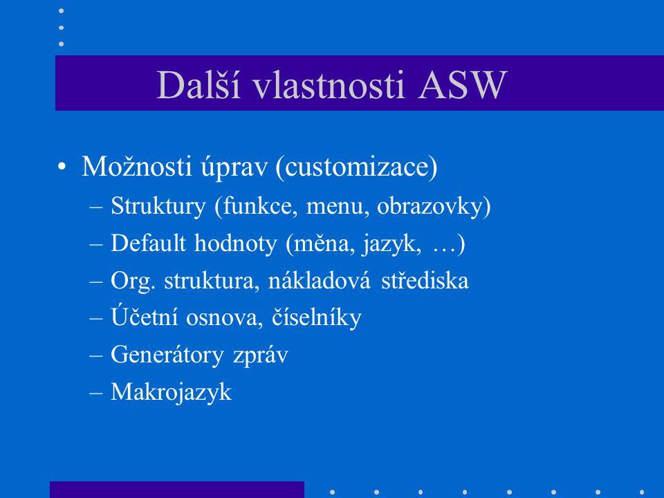 Další vlastnosti ASW Možnosti úprav (customizace) –Struktury (funkce, menu, obrazovky) –Default hodnoty (měna, jazyk, …) –Org. struktura, nákladová st