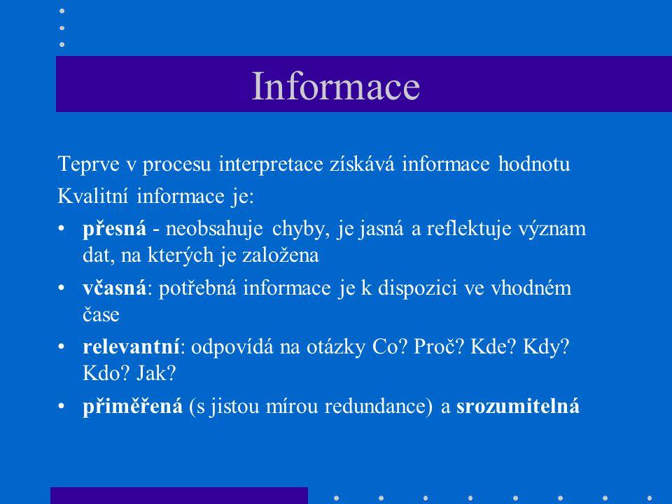 Informace Teprve v procesu interpretace získává informace hodnotu Kvalitní informace je: přesná - neobsahuje chyby, je jasná a reflektuje význam dat,