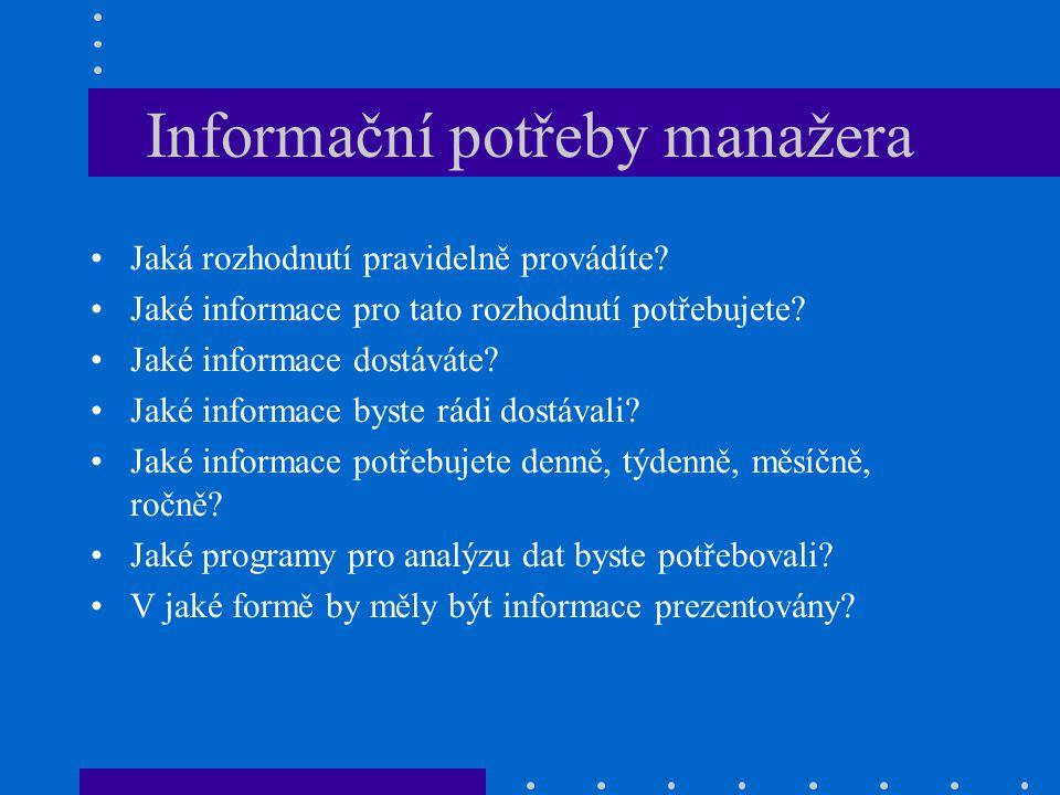 Informační potřeby manažera Jaká rozhodnutí pravidelně provádíte? Jaké informace pro tato rozhodnutí potřebujete? Jaké informace dostáváte? Jaké infor