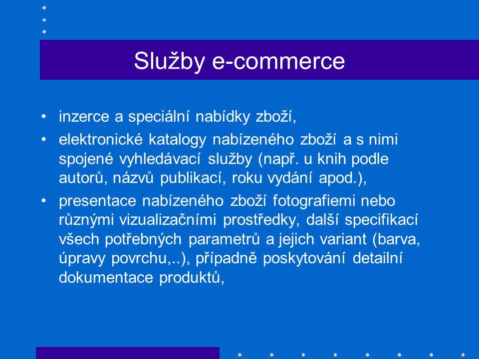 Služby e-commerce inzerce a speciální nabídky zboží, elektronické katalogy nabízeného zboží a s nimi spojené vyhledávací služby (např. u knih podle au