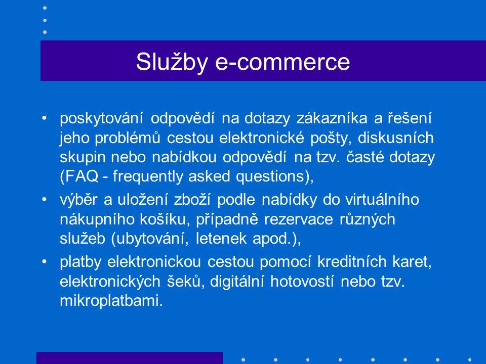 Služby e-commerce poskytování odpovědí na dotazy zákazníka a řešení jeho problémů cestou elektronické pošty, diskusních skupin nebo nabídkou odpovědí