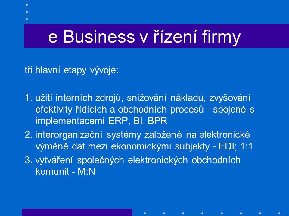 e Business v řízení firmy tři hlavní etapy vývoje: 1. užití interních zdrojů, snižování nákladů, zvyšování efektivity řídících a obchodních procesů -