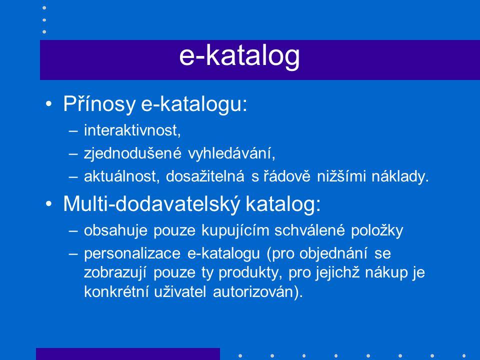 e-katalog Přínosy e-katalogu: –interaktivnost, –zjednodušené vyhledávání, –aktuálnost, dosažitelná s řádově nižšími náklady. Multi-dodavatelský katalo