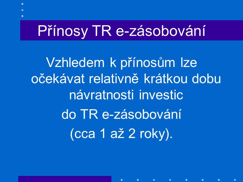 Přínosy TR e-zásobování Vzhledem k přínosům lze očekávat relativně krátkou dobu návratnosti investic do TR e-zásobování (cca 1 až 2 roky).