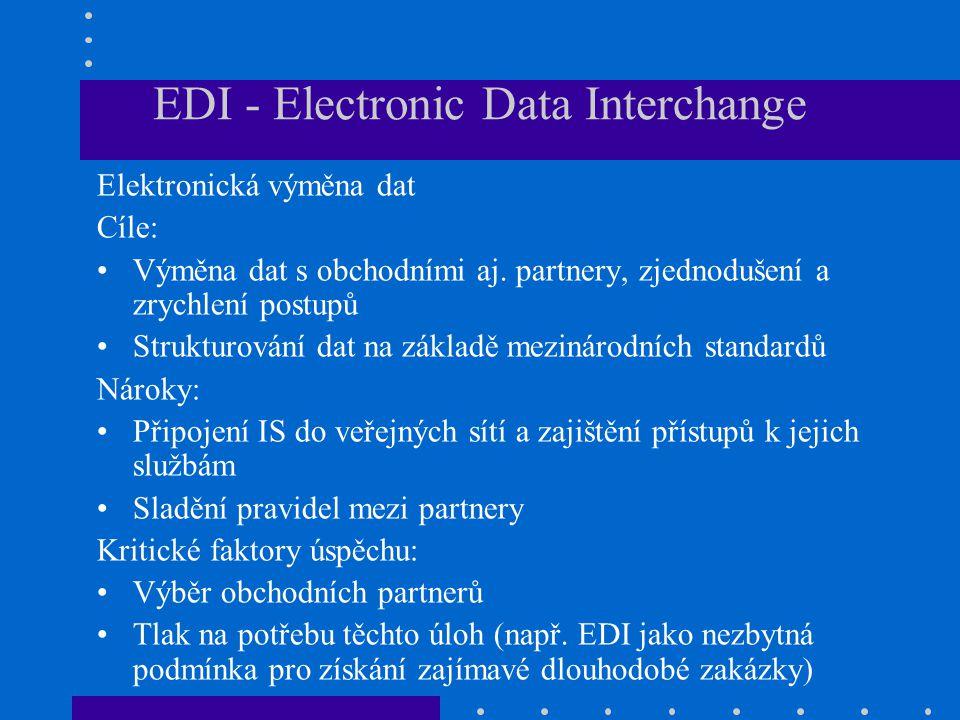 EDI - Electronic Data Interchange Elektronická výměna dat Cíle: Výměna dat s obchodními aj. partnery, zjednodušení a zrychlení postupů Strukturování d