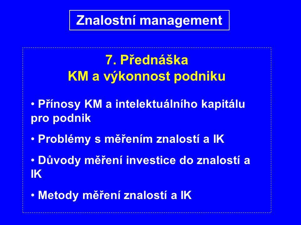 7. Přednáška KM a výkonnost podniku Přínosy KM a intelektuálního kapitálu pro podnik Problémy s měřením znalostí a IK Důvody měření investice do znalo