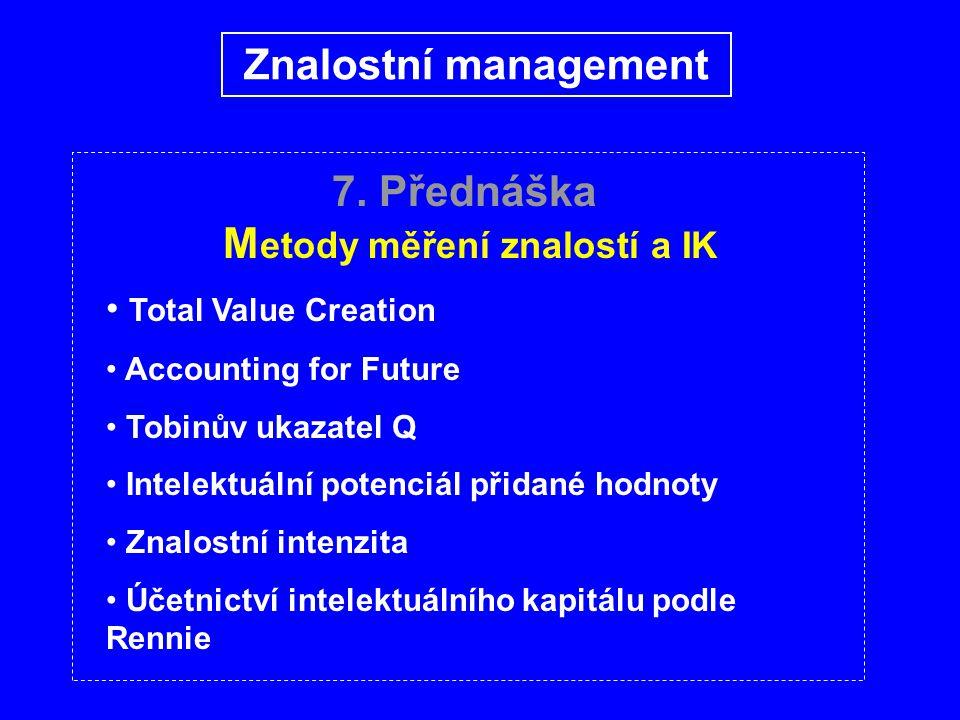 7. Přednáška M etody měření znalostí a IK Total Value Creation Accounting for Future Tobinův ukazatel Q Intelektuální potenciál přidané hodnoty Znalos