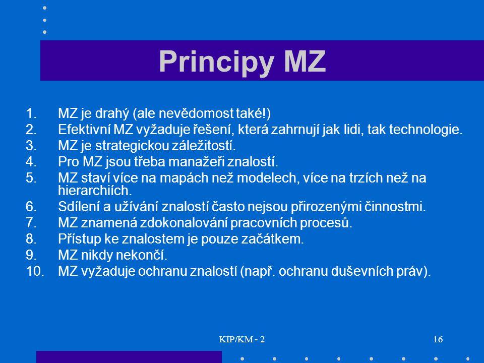 KIP/KM - 216 Principy MZ 1.MZ je drahý (ale nevědomost také!) 2.Efektivní MZ vyžaduje řešení, která zahrnují jak lidi, tak technologie. 3.MZ je strate