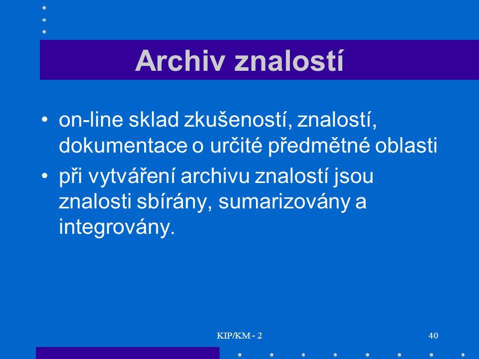 KIP/KM - 240 Archiv znalostí on-line sklad zkušeností, znalostí, dokumentace o určité předmětné oblasti při vytváření archivu znalostí jsou znalosti s